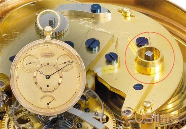 1809年的宝玑No.1176陀飞轮怀表没有表冠,需用上链匙从背面机芯的钥匙孔上链(红圈处)。