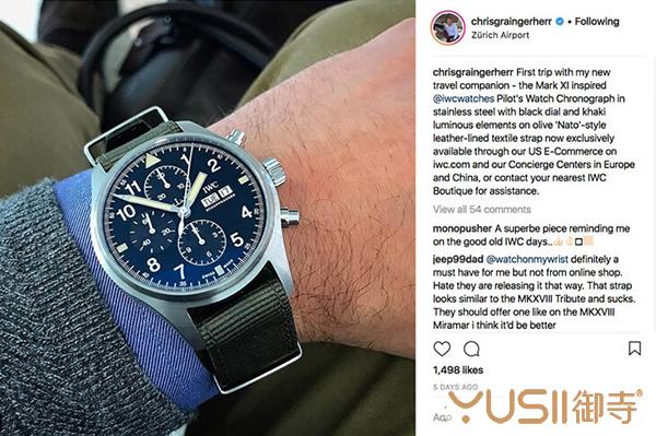 万国CEO的Instagram发布宣传新品Pilot复刻计时码表,效果惊人