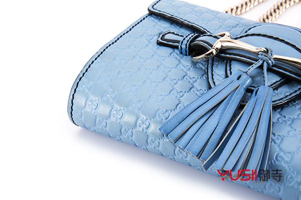 gucci古奇包包回收大约多少钱?上海奢侈品机构回收几折,御寺,古驰天蓝色GG印花单肩包