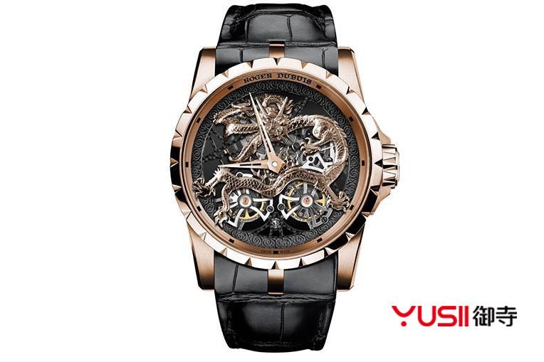 罗杰杜彼Excalibur系列龙和凤凰金雕主题镂空陀飞轮腕表